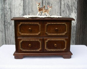 "Vintage Wooden Jewelry Music Box 18"" Doll Furniture Dresser"