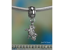 Tiny Horned Toad Charm or European Charm Bracelet .925 Sterling Silver