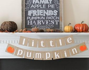 Little Pumpkin Banner- Little Pumpkin Baby shower- Little Pumpkin- Fall Baby Shower-Fall 1st birthday- Little Pumpkin Party