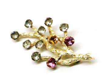 Rhinestone Brooch - Vintage, Van Dell Signed, 12K Gold Filled, Jewel Colored and Clear Rhinestone Pin