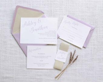 Simple Lavender Wedding Invitation Suite Sample or Deposit / Wedding Invitation / #1107
