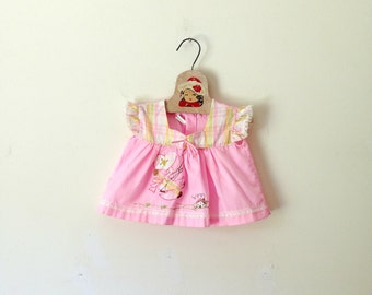 Vintage Pink Girl On A Swing Appliqued Baby Top (Size 3/6 Months)