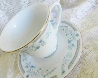 Vintage Teacup, Blue Teacup, Floral Teacup, Chinese Teacup