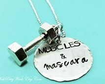 Crossfit Jewelry - Weight Lifting Jewelry - Crossfit Necklace - Workout Jewelry - Barbell Necklace - Fitness Jewelry - Gift for Crossfit