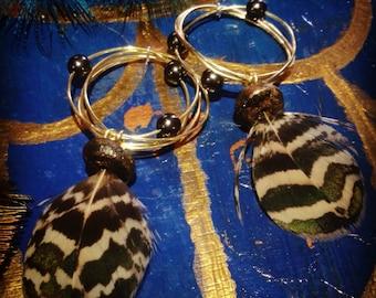 handmade beaded feather earrings / hoops