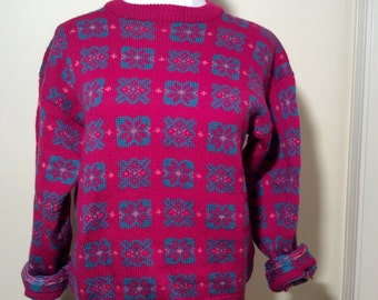 Vintage 1980s Magenta Pink/Bright Blue 100% Wool Ski Sweater, Bright and Cozy!