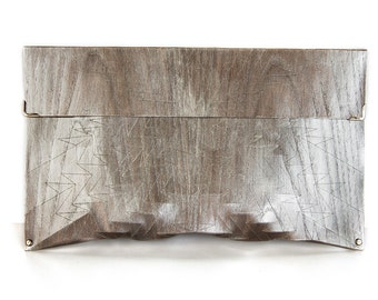 "eco wood clutch -  smoked chestnut - ""chestnut tree"" - in silver"