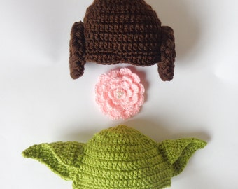 Star Wars Hat Set - Princess Leia And Yoda ed Hat  With Big Flower Newborn to Adult Halloween