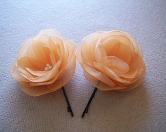 Pale Orange Hair Flowers Orange Boutonniere Wedding Accessories Pale Orange Bow Light Orange Bridal Hair Flower Light Orange Shoe Clips