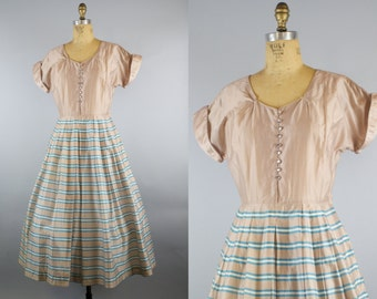 Betty Briggs Dress / 1950s Dress / 50s Metallic Dress