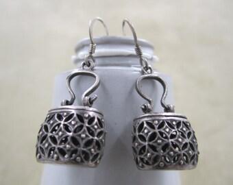 Vintage dark silver little handbag short dangle  earrings