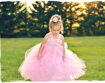 Pink Flower Girl Dress, Pink tutu dress, Pink Birthday Dress, Pink Vintage Dress, Pageant Dress