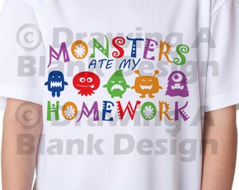 Monsters Ate My Homework SVG AND DXF File
