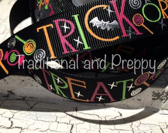 "New 7/8"" HALLOWEEN Foil TRICK or TREAT Grosgrain Ribbon sold by the yard"