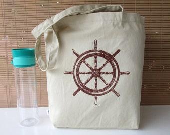 Ship's Wheel Tote Bag, 100% Organic Cotton Tote, Beach Tote Bag, Screen Printed Tote, Beach Bag, Ship's Wheel, Market Bag, Organic Cotton