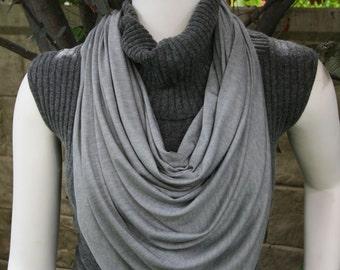 Gray Scarf Shawl Wrap Cape Grey