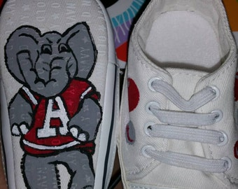 Hand painted University of Alabama shoes. For adults or kids