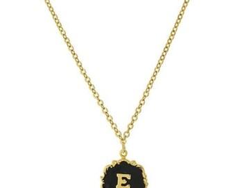 """Necklace E Letter Gold Tone Edged Black Enamel Initial """"E"""" Pendant Necklace"""