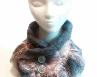 Wool cowl, winter scarf, neck piece, cowl scarf, wool clothing, wool wrap, button neck warmer, fashion scarve, winter fashion, cowl neck