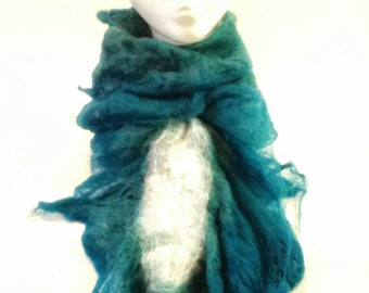 White and teal cobweb ruffle scarve, 100% merino wool, wet felted scarve