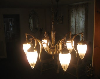 ANTIQUE 1930'S MARTINI SHAKER chandelier with original cut glass shade's...