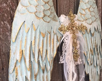 Large Angel Wings, Wall Decor, Metal Angel Wings, Nursery Wall Decor, French Wall Art, Nordic Home Decor, Blue and Gold, Farmhouse Home