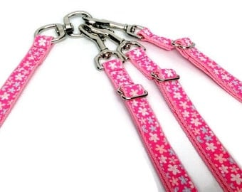 No Tangle Adjustable Double or Triple Dog Leash Pink Floral, Dual or Triple Leads