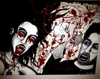 Painting 18x24  Priest vs Vampire Acrylic/Oil on Stretched Canvas!