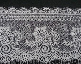 3 Yards off white French Chantilly Lace ,Exquisite Black Eyelash Lace Trim,Wedding lace Ribbon -T3140