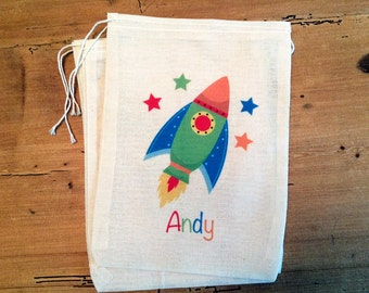 6 Rocket Spaceship Gift Party Favor Bags. 5x7 6x8 7x9 7x11 Drawstring Birthday Gift Basket Bags Personalized