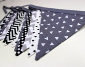 Monochrome Bunting - 10 flags, 3 metres. Made in Australia