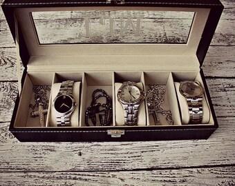 Watch Box, Valentines Day Gift for Him, Watch Box for Men, Watch Case, Watch Holder, Mens Watch Box, Personalized Watch Box, boite montre