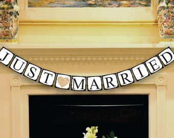 Just Married Banner - Wedding Garland - Wedding Banner - Wedding Sign - Wedding Decor - Photo Props