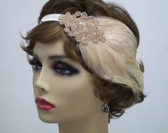 Champagne 1920s Headband, Flapper Headband, 1920s Headpiece, Jazz Age Fashion, Flapper Women, 1920s Hair Accessory, Vintage Inspired