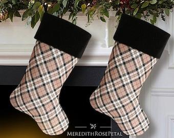 Plaid Christmas Stocking, Plaid Stocking, Plaid Christmas, Tartan Plaid Stocking, Tartan Stocking, Wool Christmas Stocking, Wool Stocking
