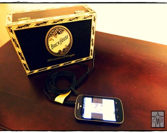 Cigar Box Audio Player For Smart Phone, iPod, mp3 player, etc.