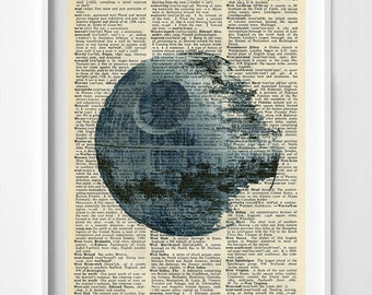 Star Wars Art - Star Wars Dictionary Print - Death Star - Death Star Poster - Death Star Dictionary Poster - Star Wars Death Star
