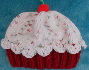 Custom Knitted Cupcake Hat/Beanie
