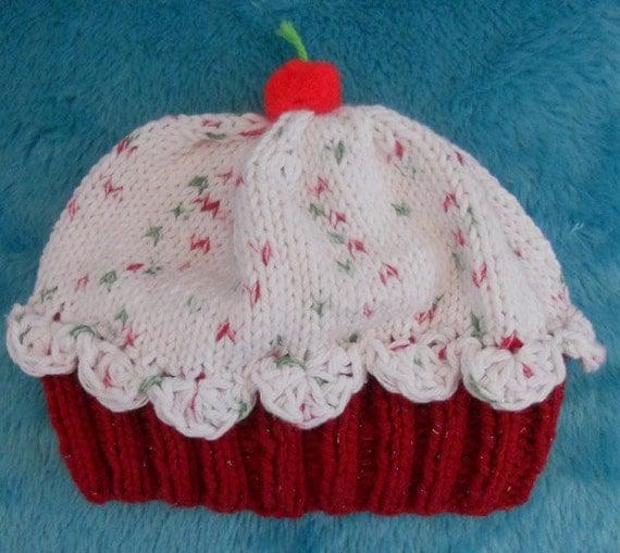 Knitting Pattern Cupcake Beanie : Custom Knitted Cupcake Hat/Beanie