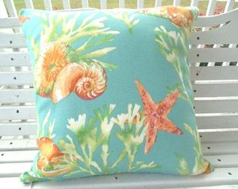 Nautical Outdoor Pillow Cover Beach Shell Starfish Decorative Patio Porch Throw Pillow Cushion Coastal Salmon Orange Teal Fabric by Yard