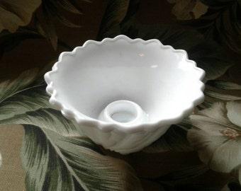 Vintage Mid century Indiana Glass Company Milk Glass Wild Rose Pattern Single 2 1/4 inch Candlestick