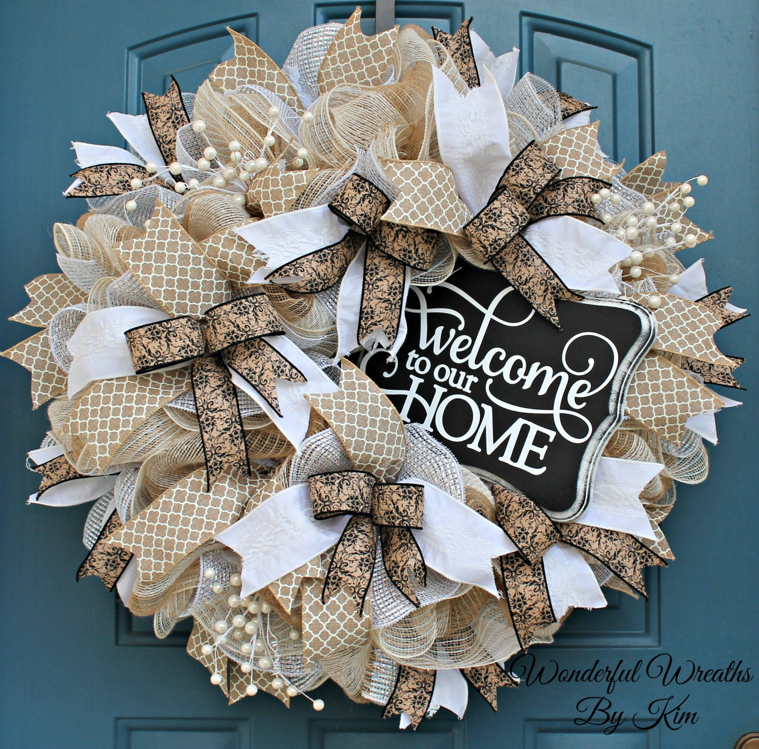Welcome Wreath Everyday Wreath Deco Mesh Wreath Wedding