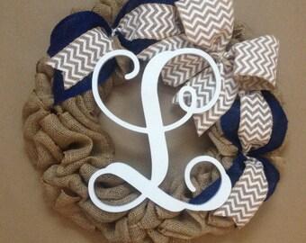 Burlap Chevron Wreath, Winter Wreath, Summer Wreath, Monogram Wreath, Personalized Wreath, Chevron Wreath