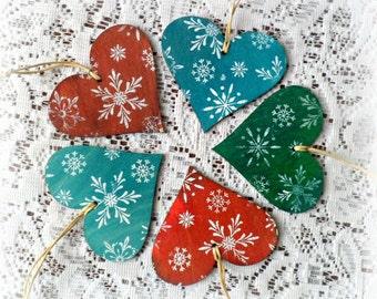 Handmade Christmas heart ornaments , set of 5 Christmas hearts , Christmas tags , Christmas wooden hearts