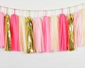 Baby Girl Tassel Garland, Dark Pink Garland, Hot Pink Garland, Pink Cake Smash, Pink Baby Prop, Pink Tassel Banner, Baby Girl Garland