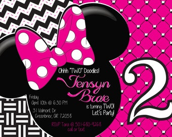 Minnie Mouse Little Girl Birthday Party Invitation (DIGITAL COPY)