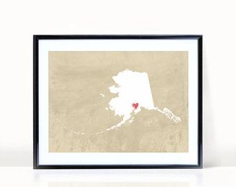 Alaska Art Print, Alaska State Print, Wall Art, Personalized State Print, Wall Decor, State Love Map Print, Anchorage, CUSTOMIZE