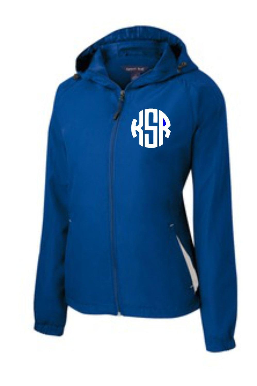 Monogrammed rain jacket royal by