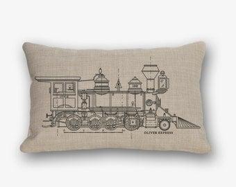 "Blueprints. Train. Plane. Steam Engine. Sea Plane. Man Cave. Nursery. Decorative throw pillow. Perfect Gift. 45x30cm [12""x18""]"