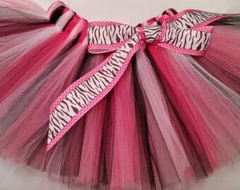 Pink White Black Tutu, zebra pink tutu, pink white black baby tutu, baby tutu, infant tutu, toddler tutu, newborn tutu, 1st birthday tutu
